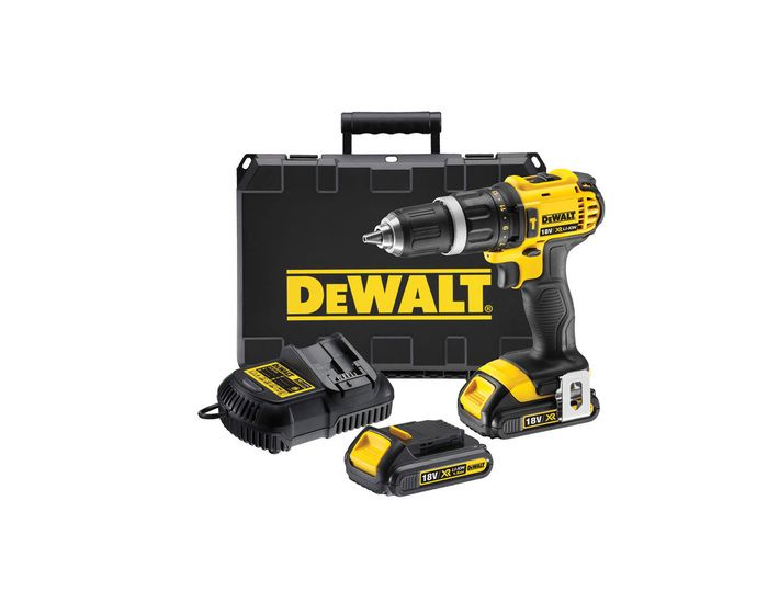 Dewalt DCD785C2-XE Hammer Drill Kit 18v :- Latest generation 18V XR Li-Ion compact hammer drill/driver