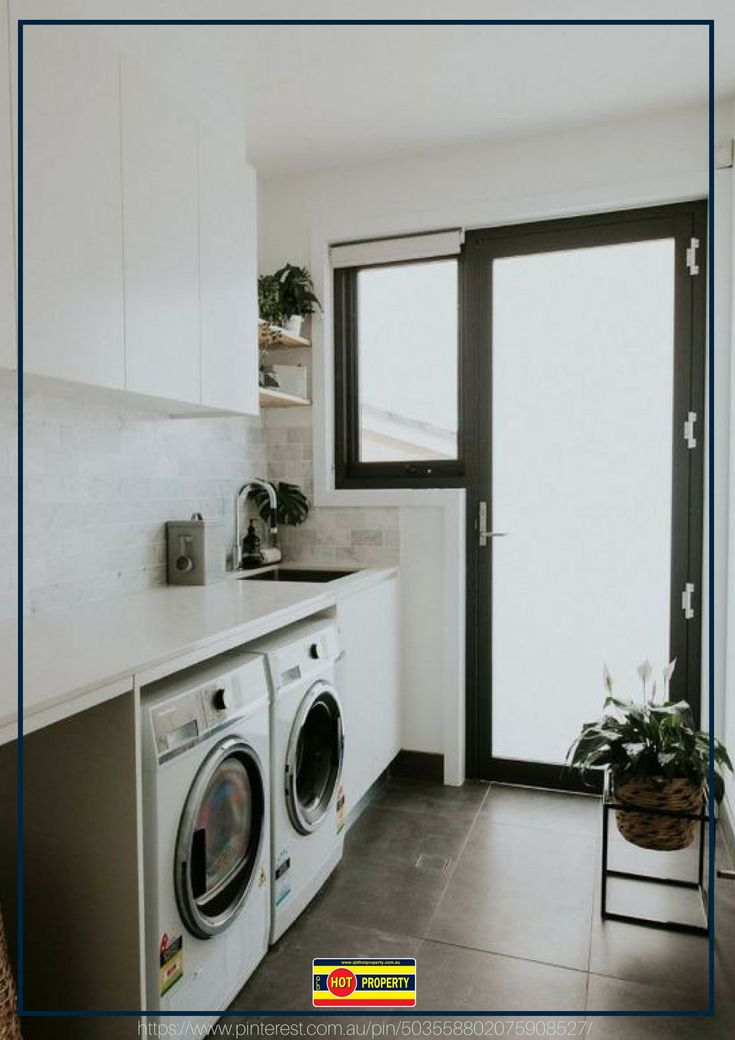 A simple yet stylish laundry room.