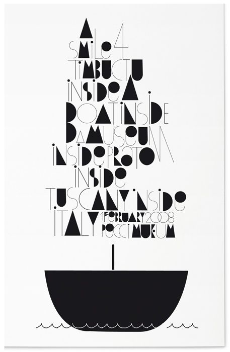 Nicely rendered geometric typography. Hints at a sail without conforming to shape.