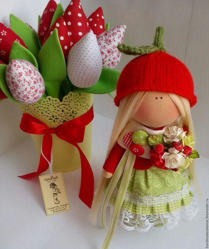 Куклы тыквоголовки ручной работы. Ярмарка Мастеров - ручная работа. Купить Ягодка-брусничка. Handmade. Кукла, кукла снежка, трикотаж