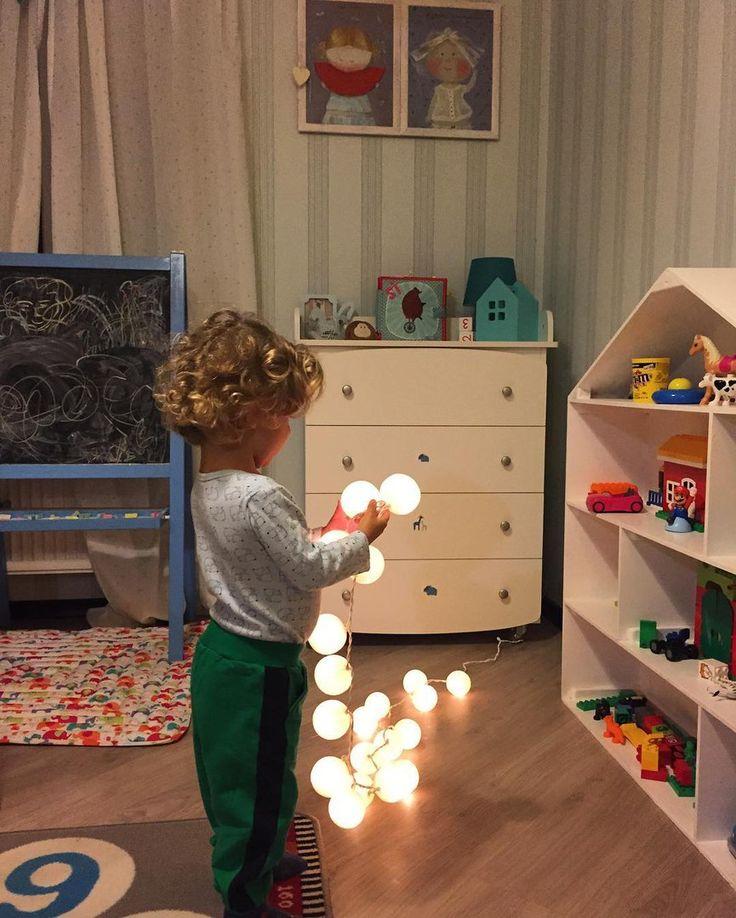 Декор детской комнаты - гирлянда из хлопковых фонариков «Snow White» 20 шт.