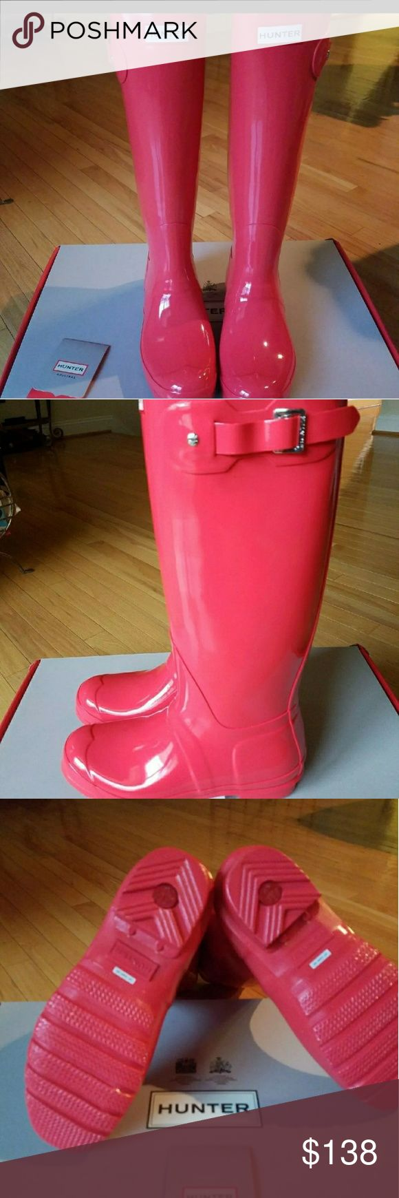 NEW! Hunter Coral Boots Sz 7 Brand New In Box! Hunter  Tall  Bright Coral Glossy  Rain Boots. Size 7**Price is Firm** Retail $160 Hunter Boots Shoes Winter & Rain Boots