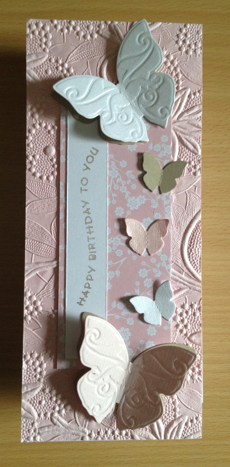 Pink birthday card with butterflies