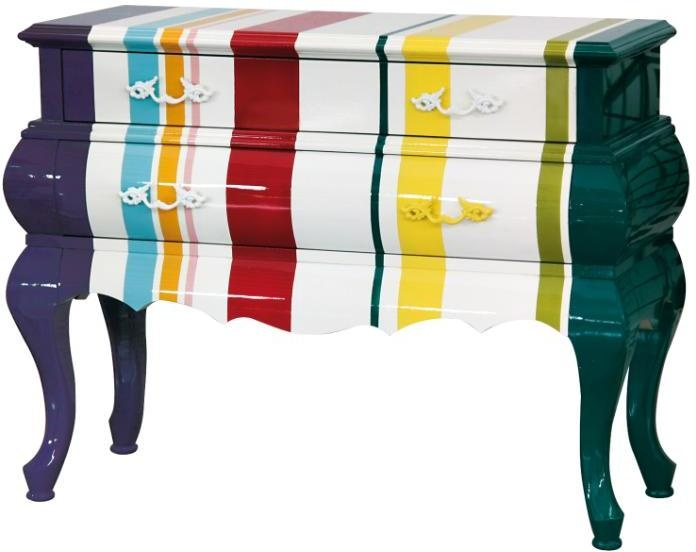 Multi Striped French Chest  from Out There Interiors