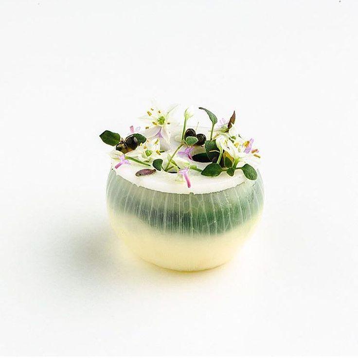 Onion cooked in birch vinegar w/ onion cream and ransoms by @eerovottonen #TheArtOfPlating by theartofplating