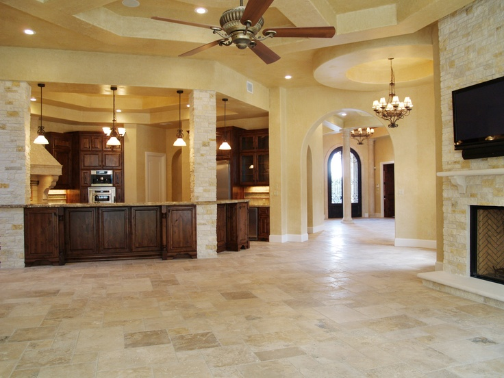 Large family room with high ceilings. Opens out from the kitchen ...