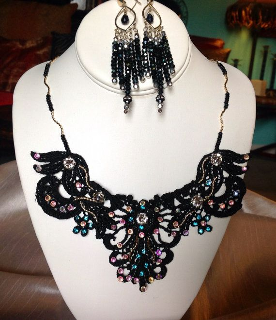 Beautiful Italian Lace Necklace with Handsewn by JewelryByShari, $148.20