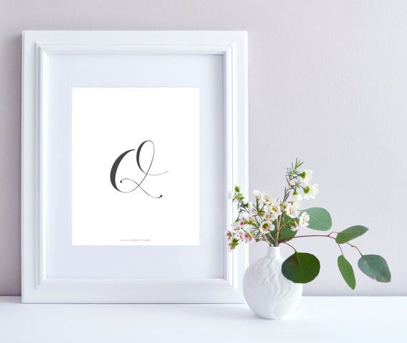 Initial Q art print  Initial Print by LillyCreationJewelry on Etsy