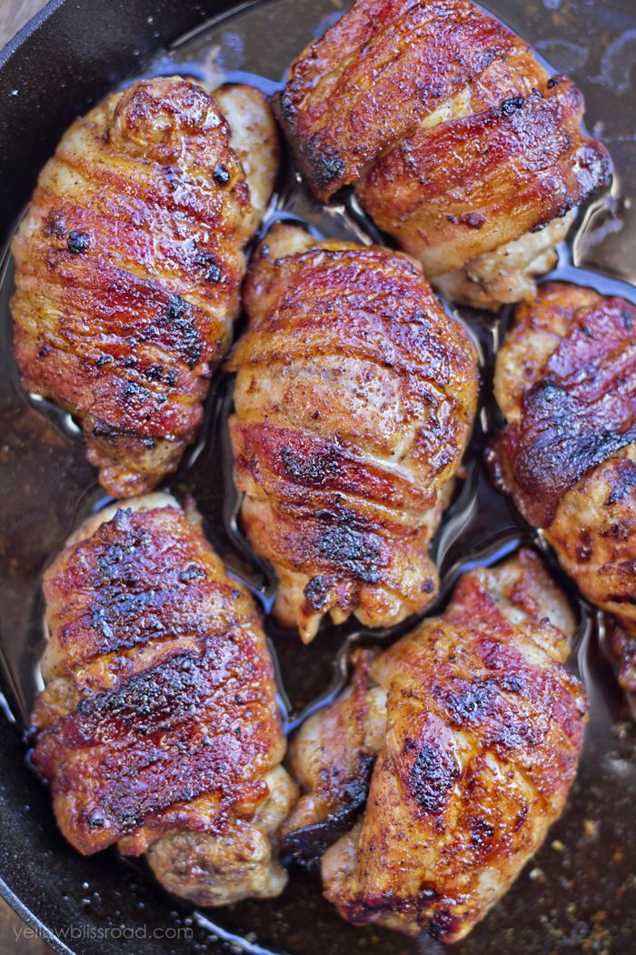 Bacon Wrapped Ginger Soy Chicken - Boneless, skinless chicken thighs are wrapped in smokey bacon and marinated in a delicate blend of honey, ginger, garlic and soy for a deliciously easy weeknight meal!