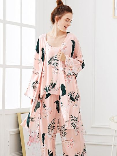 38bdc11a8f5f Shop Flower Print Pajama Set With Robe online. SheIn offers Flower Print Pajama  Set With Robe   more to fit your fashionable needs.