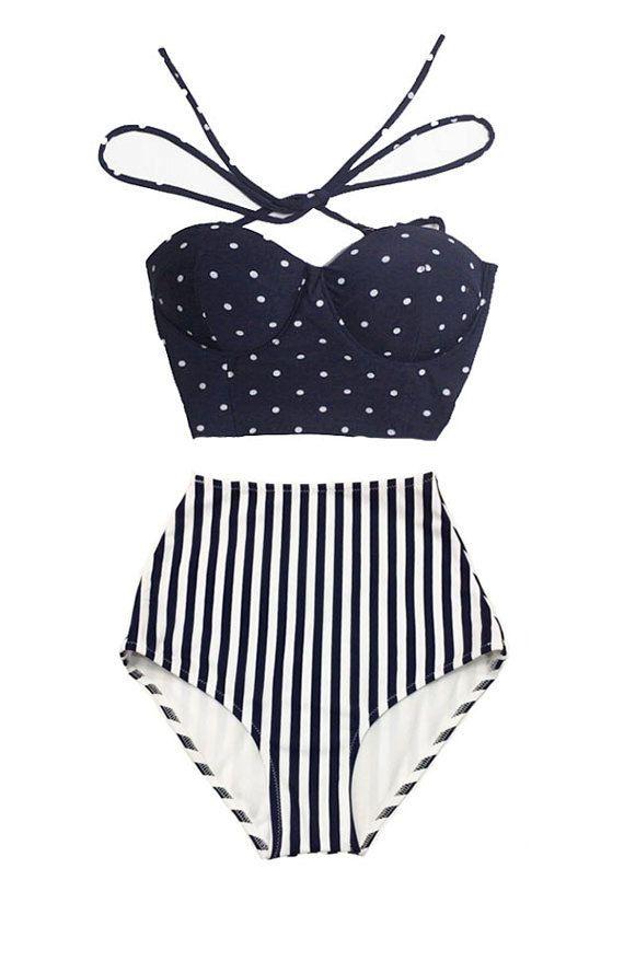 Navy Blue Polka dot Tie Back Top and Stripe Striped High Waisted Waist Shorts Bottom Woman Women Swimsuit Swimwear Bikini Bathing suit S M by venderstore on Etsy