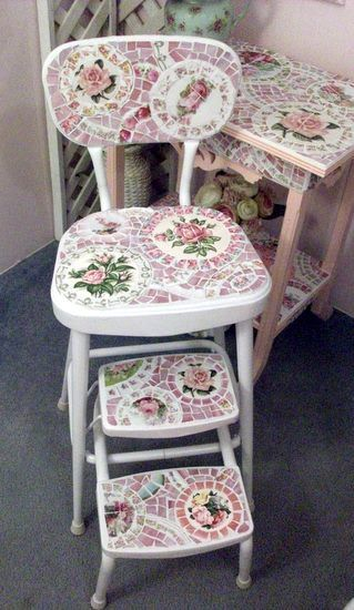 Adorable Vintage Shabby Chic Mosaic Kitchen Chair or Step Stool by Grindstone Mountain Mosaics  $350.00