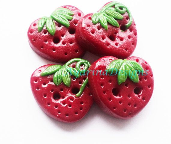 Strawberry buttons -polymer clay handmade craft buttons set of 4 via Etsy: