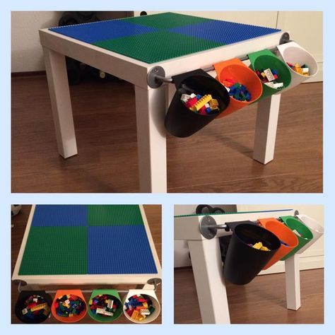 LEGO table - LACK coffee table, BYGEL rail and BYGEL containers