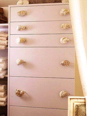 Sea Shell Drawer Pulls:   Shell pulls add a touch of whimsy and interest to an ordinary dresser. How to Make It:   1. Paint a chest of drawers soft white.   2. Using maximum-strength epoxy, adhere shells to flat drawer pulls.   3. Choose shells with flat surfaces at least as large as those on the pulls for good adhesion.