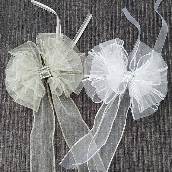Large Wedding Bows. White or Silver Layered Organza Ribbon