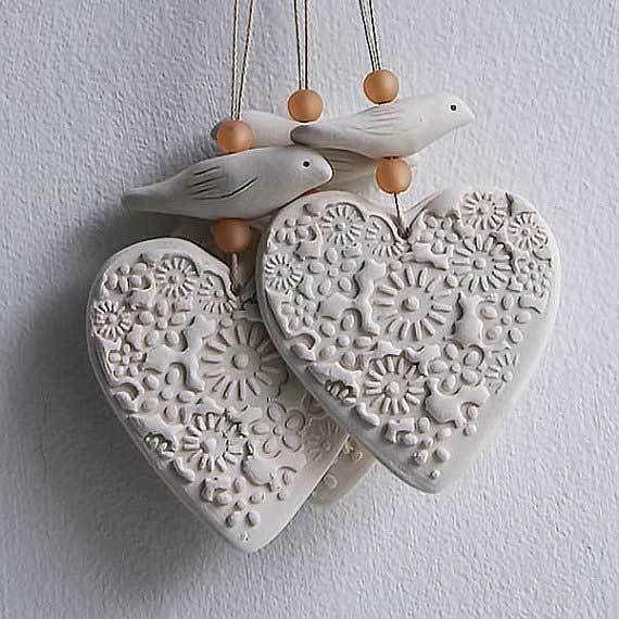 Porcelain Heart and Bird hanging £9.50  #folksyfriday #birds