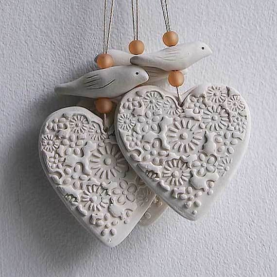Porcelain Heart and Bird hanging