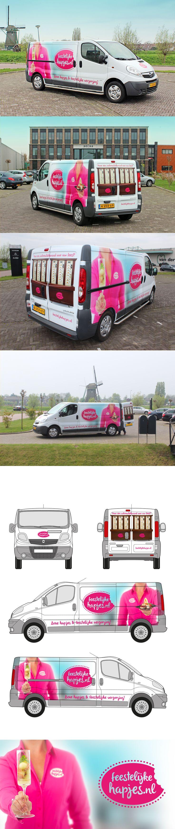 Belettering bedrijfsbus voor FeestelijkeHapjes.nl