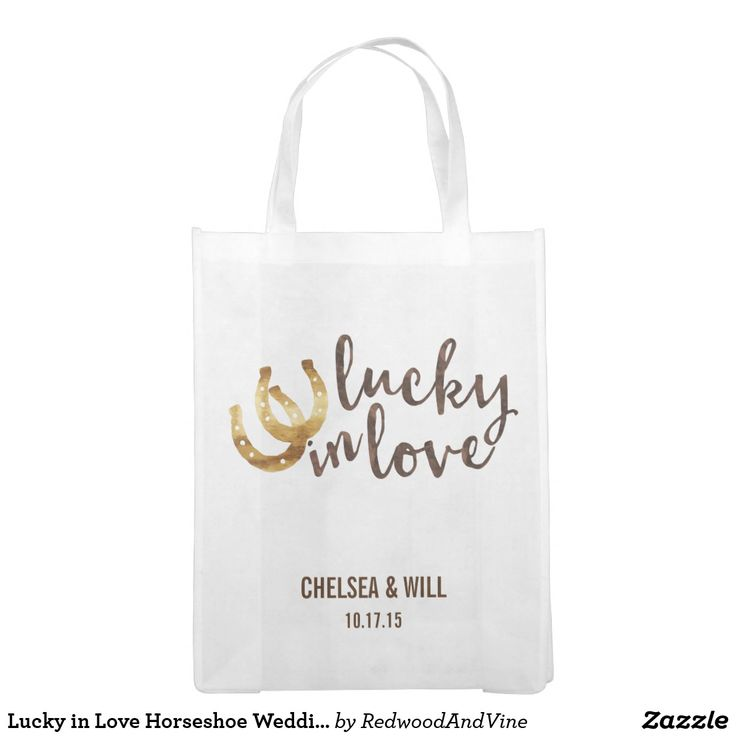 """Lucky in Love Horseshoe Wedding Favor Reusable Grocery Bag Design features two golden horseshoes and """"Lucky in Love"""" in warm autumn brown watercolor. Great wedding favor or welcome bag for out of town guests! Coordinating accessories available in our shop."""