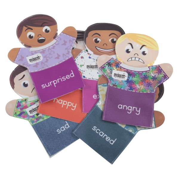 hand-puppets—emotions  Colourful printed puppets. These half bodied puppets shows the different emotions we experience. Teach children about emotions