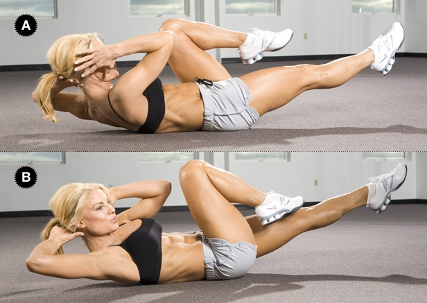 Bicicleta: Deite-se no chão com os dedos atrás da cabeça, traga os joelhos em direcção ao peito e levante ombros levemente do chão, sem forçar o pescoço. Estique a perna esquerda e simultaneamente rode o tronco para a direita, levando o cotovelo esquerdo em direção ao joelho direito. Continue alternando ambos os lados, fazendo o movimento de pedalada. (20-30 repetições)