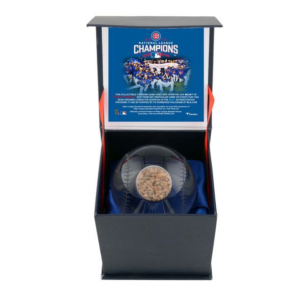 Chicago Cubs Fanatics Authentic 2016 MLB National League Champions Crystal Baseball with 2016 NLCS Dirt - $49.99