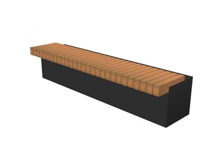 Straatmeubilair / parkmeubilair in polymeerbeton (met zitbanken en plantenbakken) - verkrijgbaar in grijs of zwart