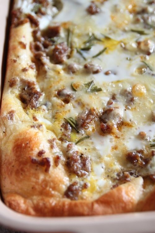 Breakfast Pizza/Casserole - (I add a bag of thawed hash browns and increase eggs to 6 instead of 5) Delicious!
