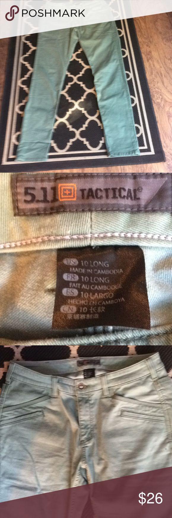 "EUC 511 Tactical👖Sz-10 Long Mint Green 6 pockets EUC 511 Tactical👖Sz-10 Long Mint Green 6 pockets no faults. Lying flat measured rise 9 1/2"" Waist 17"" Inseam 34"" approximately 511 Tactical Jeans Skinny"