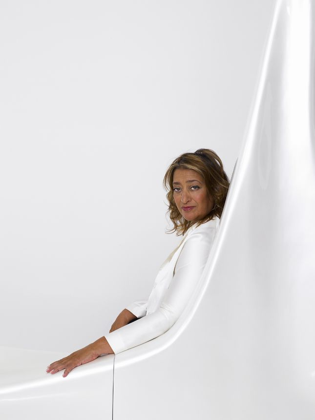 Dame Zaha Mohammad Hadid (1950-2016) DBE, Iraqi-British architect creates strikingly fluid designs and was the first woman to be awarded the Pritzker Architecture Prize. portrait by Henry Bourne zaha-hadid.com