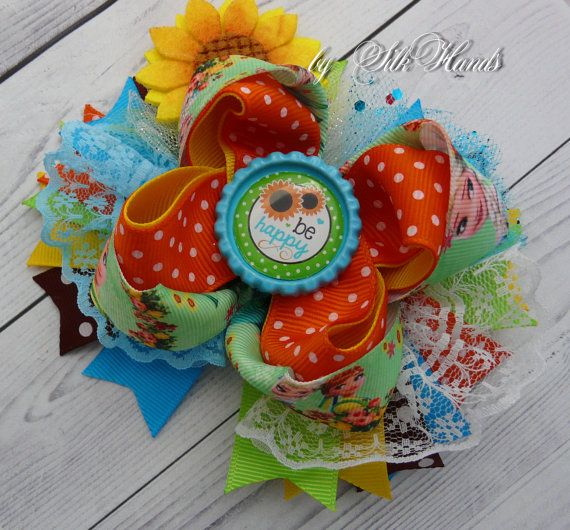 Be Happy Bow - Frozen Bow - Elsa Birthday - Over the Top Bow - Elsa or Anna party - Girls Hair Bows- Sunflower Bow