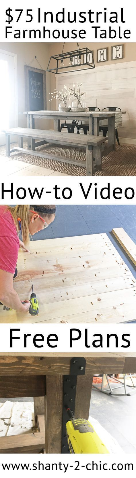 Build this Industrial Farmhouse Table with only framing materials! How-to video and free plans at www.shanty-2-chic...