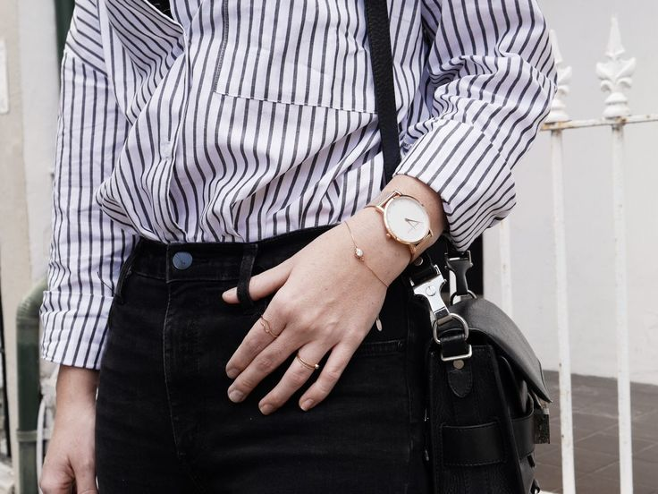 RACHEL JAMES | GOLD Marc Bale Crystal Mesh timepiece styled with Suspended Crystal Bezel Bracelet from @thepeachbox