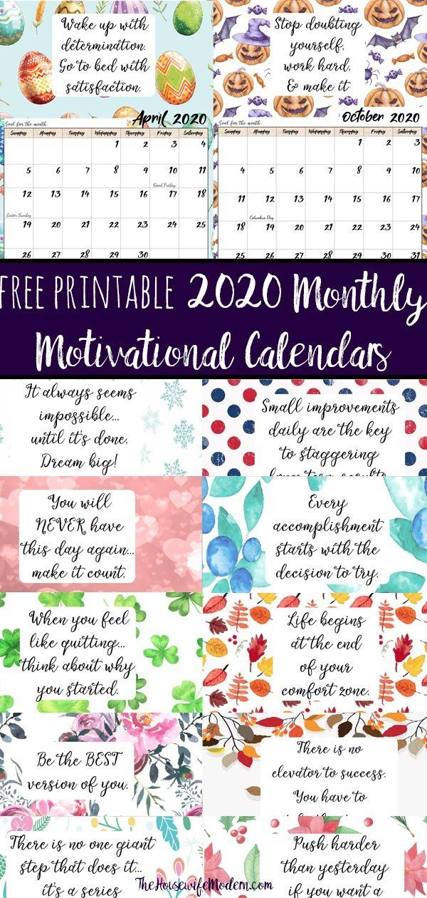 Free Printable 2020 Monthly Motivational Calendars Inspirational
