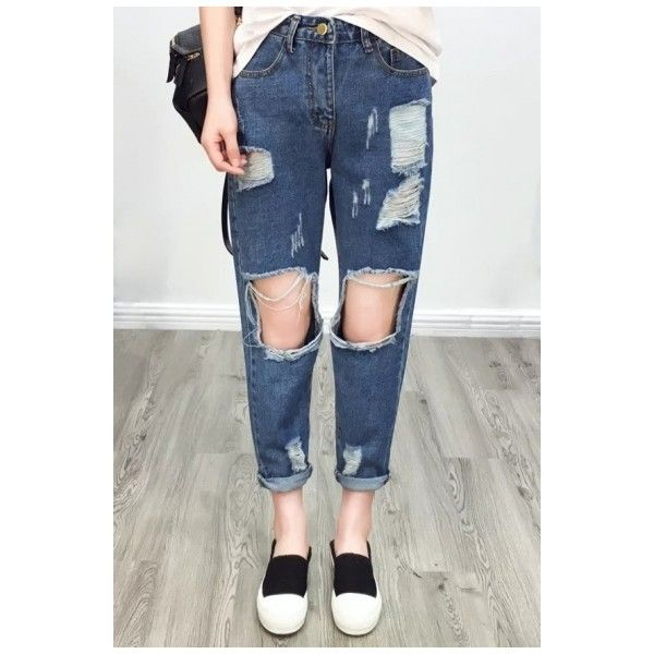 Fashion Ripped Cutout Plain Mid Waist Straight Jeans ($34) ❤ liked on Polyvore featuring jeans, distressed straight-leg jeans, ripped jeans, cut out jeans, destruction jeans and destroyed jeans