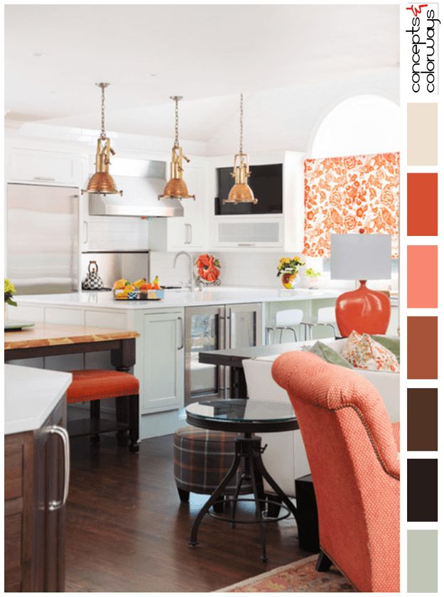 White kitchen with peach accents color palette pantone for Dark orange kitchen