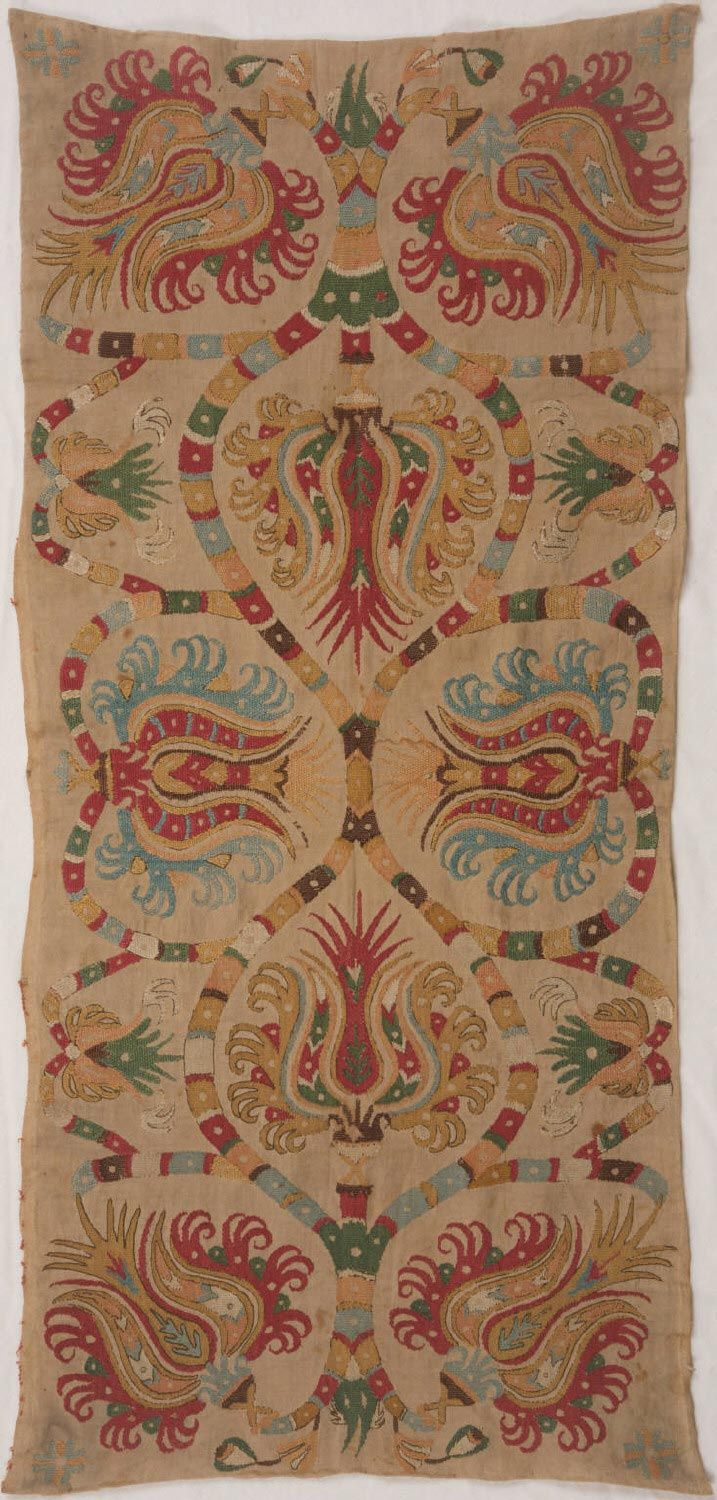 Cushion Cover  Tulip design.  Made in Northern Sporades (Skyros), Greece, Europe   18th century  Linen plain weave with silk embroidery in darning, satin, split, and outline stitches