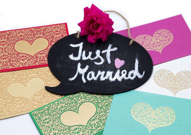 Just Married with Elvin! 💒 #weddingcard #justmarried #handmadepaper #greetingcards #elvinpaper