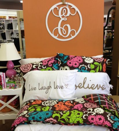 Super Cute Dorm Look Featuring Vera Bradley Bedding In Lola And Faceplant Dreams Pillowcases Plus Use One Of Our Initial Door Hangers Over Your Bed To