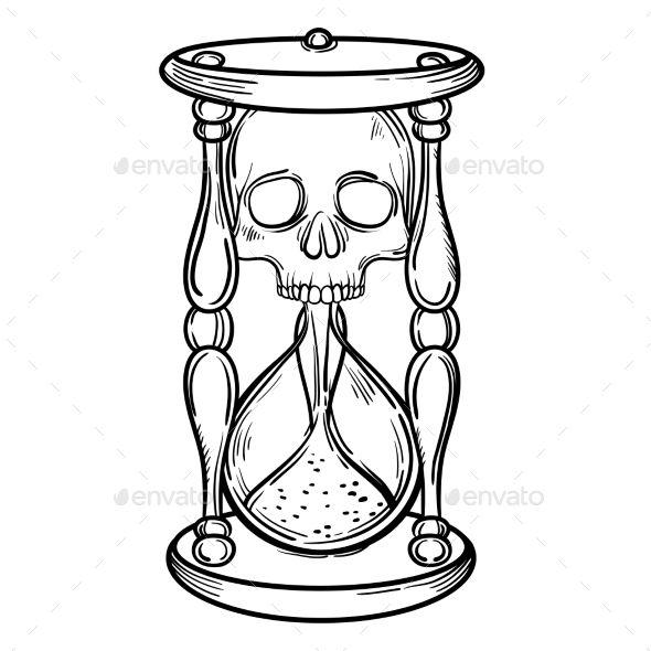 Decorative Antique Death Hourglass Illustration By Vavavka