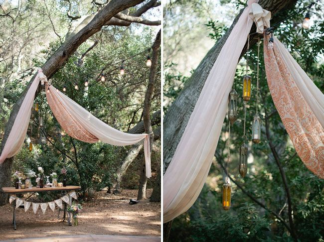 These drapes are a perfect addition to this bohemian outdoor #wedding! From http://greenweddingshoes.com/eco-friendly-boho-wedding-jessica-kevin/  Photo Credit: http://swoonbykatie.com/