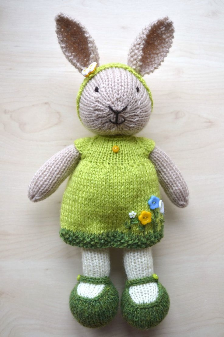 Hand Knit Bunny Cute Knitted Little Bunny Girl In Dress