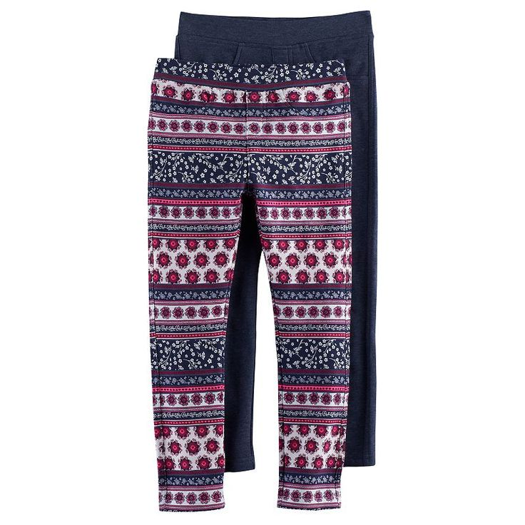 Girls 4-6x Freestyle Revolution 2-Pack Print & Solid Jeggings, Ovrfl Oth