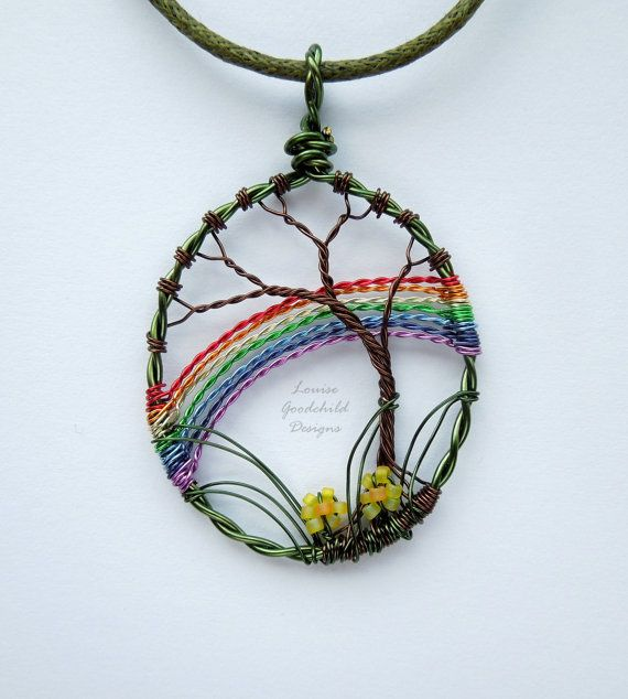 Spring Rainbow wire tree pendant wire rainbow by LouiseGoodchild