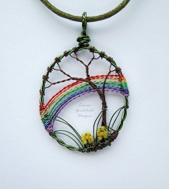 Spring Rainbow wire tree pendant wire rainbow by LouiseGoodchild