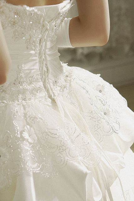 White and gold wedding sweetheart corset ballgown dress for White corset wedding dress