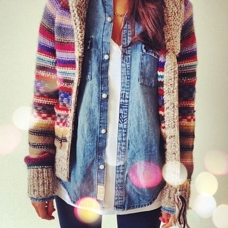 Layer a denim shirt under chunky Fair Isle knits. | 32 Perfect Fall Outfits