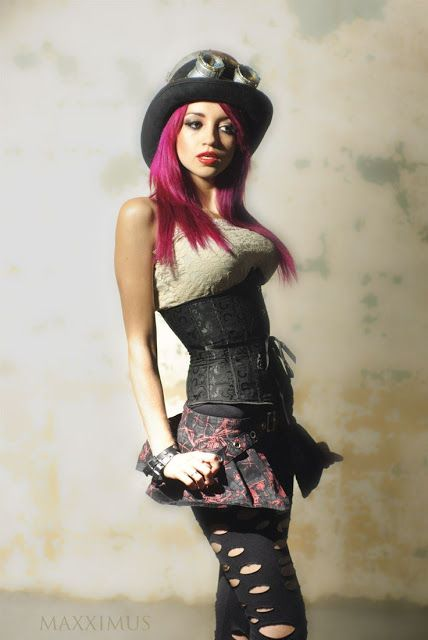 Steampunk girl with purple hair - steampunk womens clothing: bowler hat, goggles, corset/bodice, skirt, tights/leggings