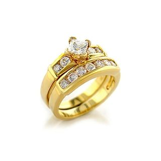 cheap gold plated cubic zirconia wedding rings sets for women - Cheap Gold Wedding Rings